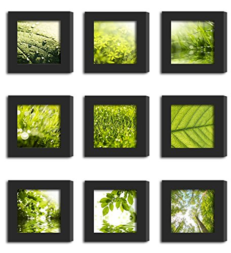 9Pcs 4x4 Real Glass Wood Frame Black Fit Family Image Pictures Photo (Window 3.6 x 3.6 inch ) Desktop Stand or Wall Hang Family Combine Square Green Forest Leaf Grass Landscape Decoration (19-27) by Smart Wall Station