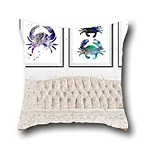Oshiley Oil Painting Art Sea Lobster World Geometric Reversible Pillow Cover ( 20*36 )