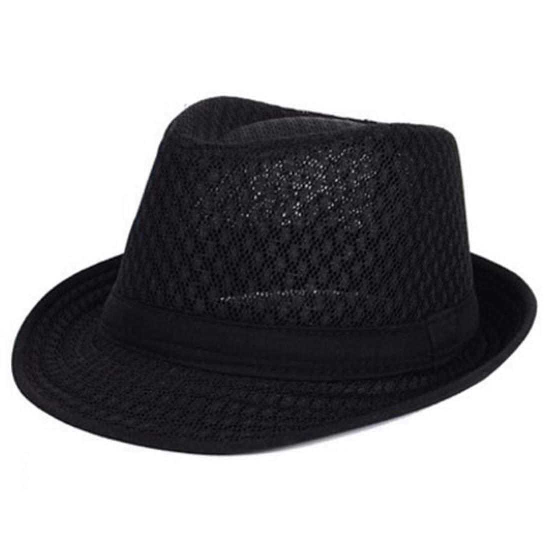 Summer Cool Woven Straw Fedora Hats Unisex Classic Short Brim Panama Hat Beach Sun Hat with Band