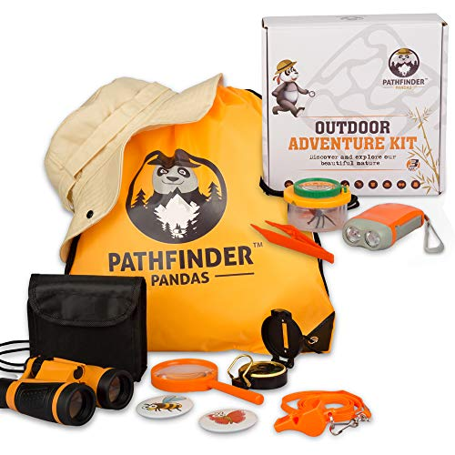 Kids Explorer Kit | Outdoor Kids Toys for Boys & Girls with Backyard SAFARI HAT Binoculars Flashlight Bug Catcher Compass & More | Educational STEM Kids Camping Gear & Hiking Kit for Young Explorers