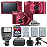 Canon PowerShot SX620 HS Digital Camera (Red) + Flash + Backup Battery + 32GB Class 10 Memory Card + Tripod + Digital Camera Case + Card Reader + Cleaning Kit - International Version