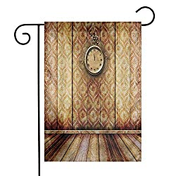 Zmstroy Exquisite Garden Flag, Bright Yard Flags, Double Sided Designs, 12.5x18, Antique Clock on Medieval Style Wall Wooden Floor Classic Architecture Theme Art, Beige Brown