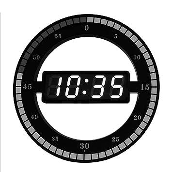PQPQPQ Reloj de Pared de plástico Simple Anillo LED Reloj Digital Sensible Inteligente Reloj electrónico círculo de 12 Pulgadas: Amazon.es: Hogar