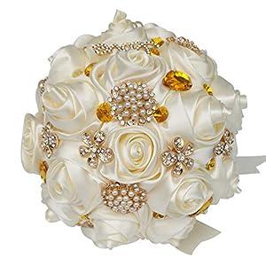 HORHIN Handmade Wedding Bouquet Crystal Pearl Silk Roses Rhinestone Bridal Bridesmaid Wedding Hand Bouquet Artificial FlowersIvory 2