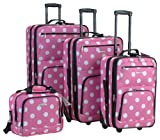 Rockland Luggage Dots 4 Piece Luggage Set, Pink Dots, One Size