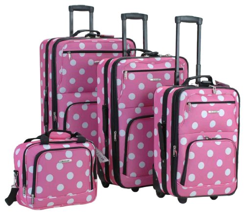 Rockland Luggage Dots 4 Piece Luggage Set, Pink Dots, One Size, Bags Central