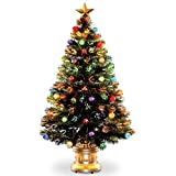 4' Pre-lit Potted Fiber Optic Artificial Christmas Tree with Firework Ball Ornaments - Multi Lights
