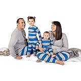 Burt's Bees Baby Baby Family Jammies, Blue Rugby Stripe, Holiday Matching Pajamas, 100% Organic Cotton, Kids Medium (8/10)
