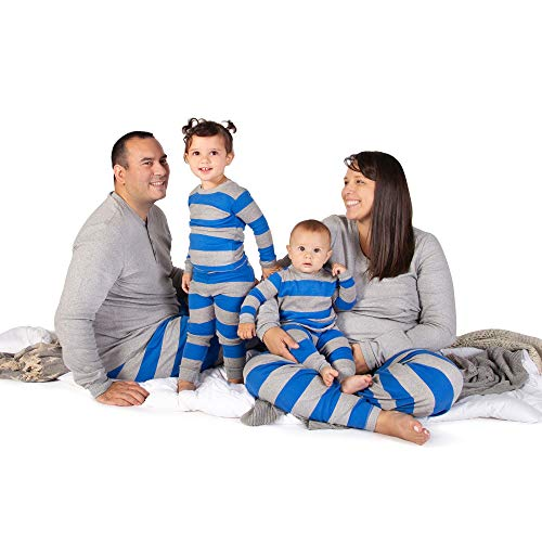 Family Jammies, Blue Rugby Stripe, Holiday Matching Pajamas, 100% Organic