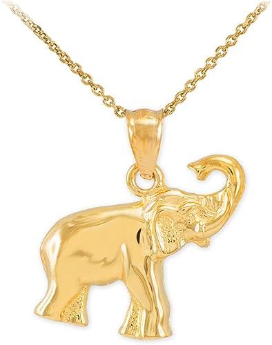 Good Luck Lucky Dia Cut Women Men 14K Solid Yellow Gold Elephant Stud Earrings
