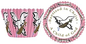 Baptism Baking Cups - Pink (32 per package)
