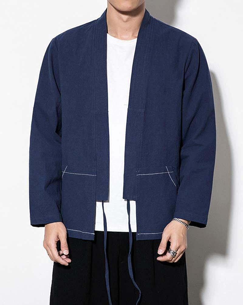 Hombre De Estilo Chino Tang Chaqueta Kimono Cardigan Vintage ...