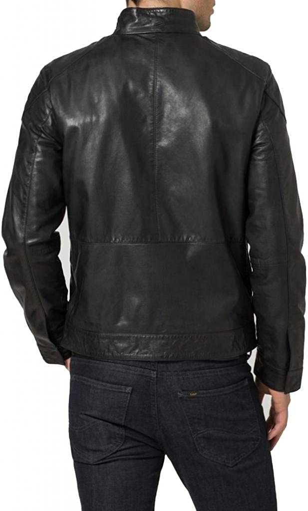 New Mens Biker Genuine Sheep Leather Slim Fit Bomber Party Jacket A305
