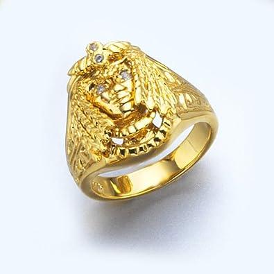 34e606f1396 LIOR - Bague Chevalière Homme Cléopâtre avec Cristal Blanc - égyptienne -  Plaqué Or 750