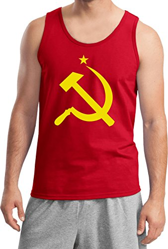 (Buy Cool Shirts Yellow Hammer and Sickle Tank Top, Red Large)