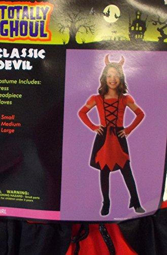 Devil Classic Red Black Dress Child Costume Hat L 10-12 NIP