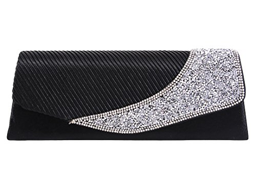 Gabrine Womens Evening Envelop Shoulder Bag Handbag Clutch Purse Pleated Rhinestone-Studded Satin(Mysterious Black)