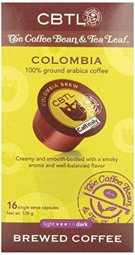 CBTL Colombia Brew Coffee Capsules By The Coffee Bean & Tea Leaf, 16-Count Box by Coffee Bean & Tea Leaf