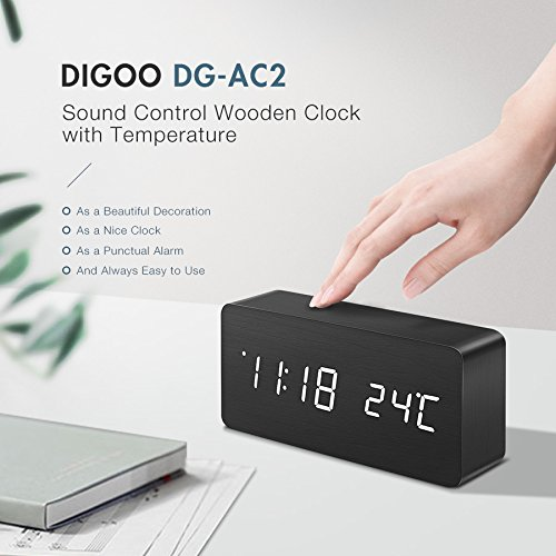 Digoo DG-AC2 3 Mode Wooden LED Clock Voice Control LED Digital Alarm Clock Wood LED Clock Multifunctional Clock Digital LED Clock LED Time Display Clock with Temperature Desk Clock by scoutBAR