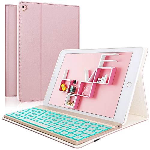 Keyboard Case iPad 9 7 2018(6th Gen) - iPad 9 7 2017(5th Gen) - iPad Air  2&1 - iPad Pro 9 7-7 Colors Backlit Detachable Keyboard - PU Leather Stand  -