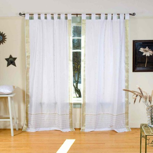 White with Gold Tab Top Sheer Sari Curtain / Drape / Panel - 80W x 84L - Piece (Panels Sari Drapes Curtains)
