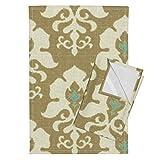 Roostery Ikat Frame Tea Towels Ikat Frame Spa by Littlerhodydesign Set of 2 Linen Cotton Tea Towels