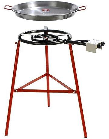 Medium 8, Large Size 10 Reborn.J Stainless Steel Flat Bottom Paella Pan,Set of 2pcs Red Handle