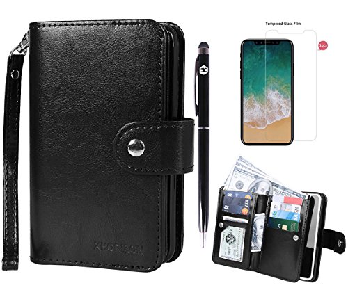 xhorizon FLK [Upgrade] 2 in 1 Top Notch Bifold Magnetic Car Mount Phone Holder Compatible Folio Leather Wallet Case for iPhone X / iPhone 10 with 9H Tempered Glass Film and Bonus 2 in 1 Stylus from xhorizon