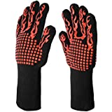 U-LIAN BBQ Gloves Heat Resistant Oven Gloves for Cooking, Grill, Baking, Campfire, EN407, Extra Long Cuff, 1 Pair