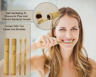 Soft Bristles BPA Free Bamboo Toothbrushes and Cases, Natural Biodegradable, eco-friendly, with travel holders, set of 2 handmade gift set