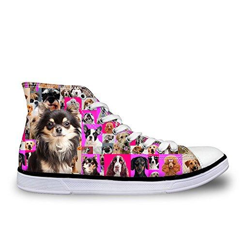 Abbracci Idea Cani Stampa High Top Scarpe Di Tela Sneakers Da Ginnastica Per Cane Da Donna 17