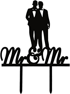 Mr & Mr Cake Topper, Gay Couple Acrylic Wedding/Coimg out Party Decoratoions-Black Color