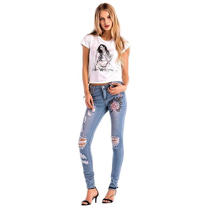Hopin - Pantalones Vaqueros Desgastados para Mujer ...
