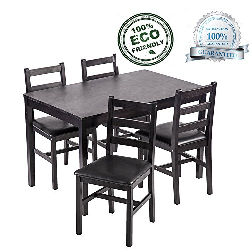 Dining Table Set, 5 Pieces Kitchen Dining Table With 4 Dining Chairs Pine Wood Kitchen Dinette Table (Chair Table Room Dining And)