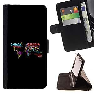 - cool word art world map Russia Canada - - Prima caja de la PU billetera de cuero con ranuras para tarjetas, efectivo desmontable correa para l Funny HouseFOR LG G3
