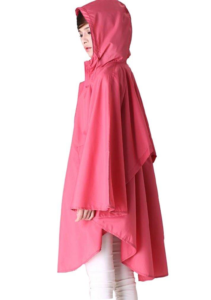 Japanese Style Cloak Ultralight Polyester Raincoat Women Cute Trench Coat Female Waterproof Free Breathing rain Poncho (red, One Size)