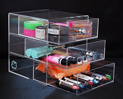 Beauty Box Acrylic Makeup, Cosmetic & Jewelry Organizer #3D (4l Acrylic Makeup Organizer)