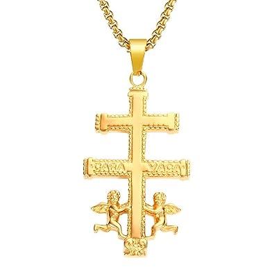BOBIJOO Jewelry - Colgante Cruz de Caravaca de Protección de Acero Inoxidable de Plata Chapado en Oro+Cadena