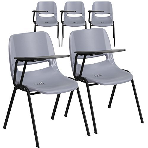 Flash Furniture 5 Pk. Gray Ergonomic Shell Chair with Right Handed Flip-Up Tablet - Right Shell