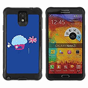 A-type Arte & diseño Anti-Slip Shockproof TPU Fundas Cover Cubre Case para Samsung Galaxy Note 3 III / N9000 / N9005 ( Funny English Muffin Illustration )
