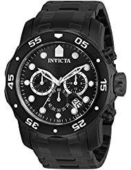 Invicta Mens 0076 Pro Diver Collection Chronograph Black Ion-Plated Stainless Steel Watch