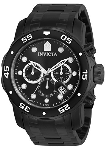 Black Dial Automatic Chronograph Watch - Invicta Men's 0076 Pro Diver Collection Chronograph Black Ion-Plated Stainless Steel Watch