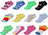 Women's Ankle Socks - Low Cut Colorful Socks For Women - 12 Pack - By Gallery Seven - Color 1 - 9 - 11