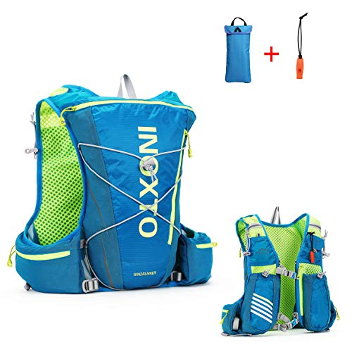 (IBTXO Running Race Hydration Vest 10L Outdoors Hydration Pack Backpack for Marathon Running Cycling Hiking Fits Men and Women (Blue))