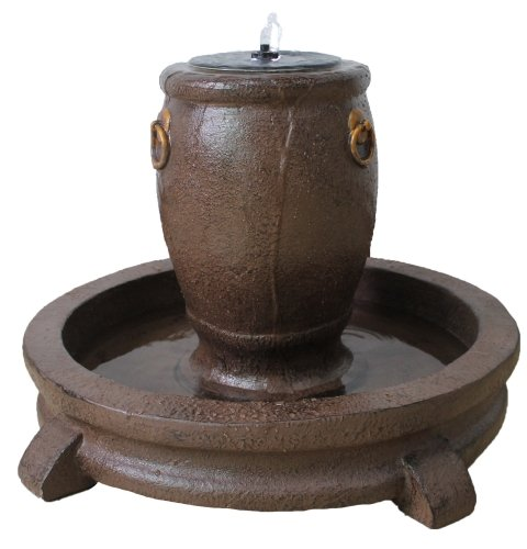 (Overflowing Pot Fountain with Pump, LED Lights & Back-Up Battery)