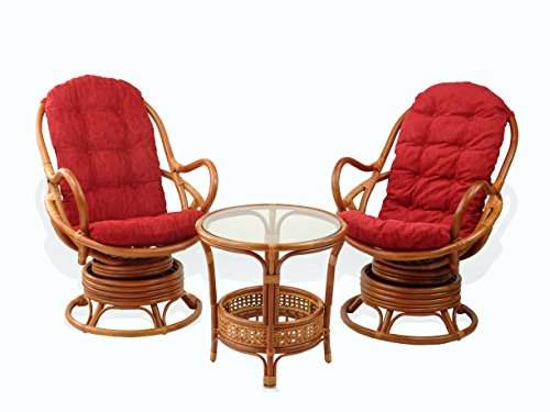 (Lounge Set of 2 Swivel Rocking Java Chairs Natural Rattan Wicker Handmade with Burgundy Cushion and Round Coffee Table, Cognac)
