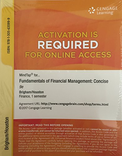 MindTap Finance, 1 term (6 months) Printed Access Card for Brigham/Houston's Fundamentals of Financial Management, Concise Edition, 9th