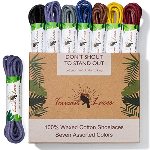 Toucan Laces Dress Shoe Laces for Men in [7 Pairs] of Round Waxed Shoelaces – 100% Cotton – Black Shoe Laces, Brown Shoe Laces, Blue Shoe Lace, Gray Shoelace, Yellow, -