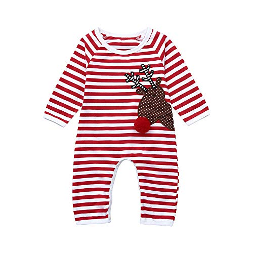 (Christmas Deals!Newborn Infant Baby Xmas Romper- Striped Long Sleeve Deer Printing Jumpsuit Clothes (Red, 0-6 Months))