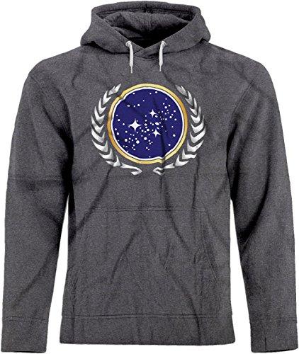 (BSW Unisex Star Trek United Federation of Planets Logo Hoodie SM Dark Heather)